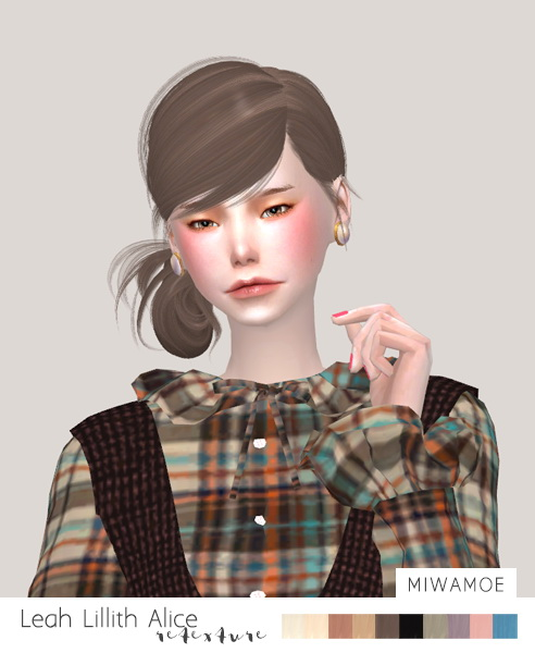 Sims 4 Leah Lilith Alice Hair retextured at Miwamoe
