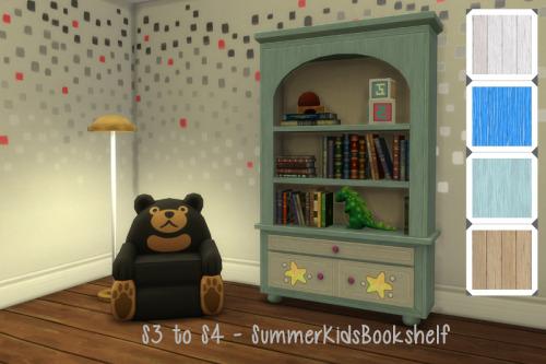 Sims 4 S3 to S4 Summer Kids Bookshelf at ChiLLis Sims