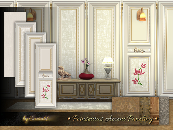 Poinsettias Accent Paneling by emerald at TSR image 2111 Sims 4 Updates