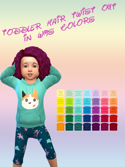 Sims 4 Toddler Hair Twist Out in WMS Colors at ChiLLis Sims