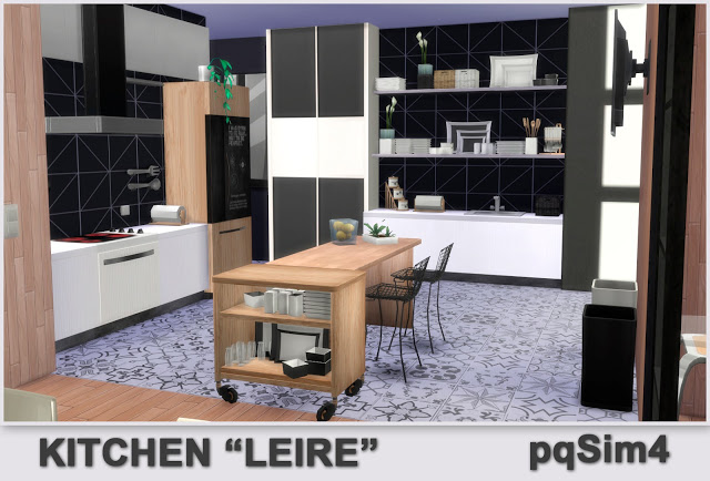 Sims 4 Leire Kitchen by Mary Jiménez at pqSims4