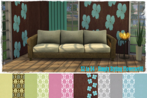 Sims 4 S2 to S4 Simply Styling Wallpaper Flowerset01 at ChiLLis Sims