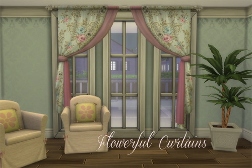 Sims 4 Flowerful Curtains at ChiLLis Sims