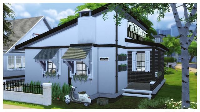 Sims 4 Small Black & White House at Dinha Gamer