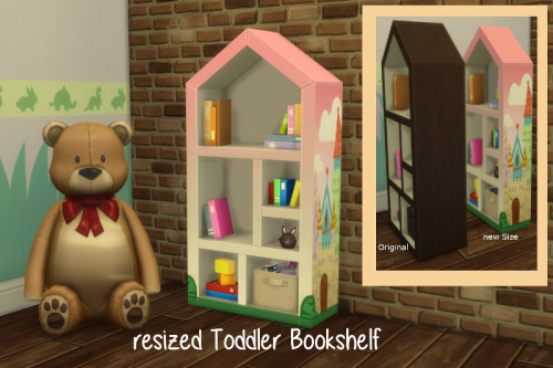 Sims 4 Toddler Bookshelf new size at ChiLLis Sims