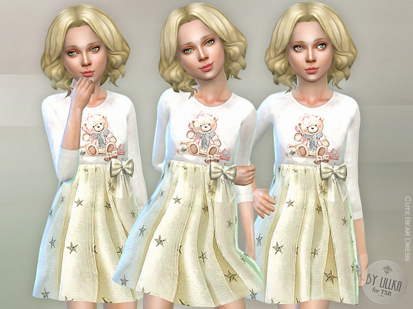Sims 4 Cute Bear Dress by lillka at TSR