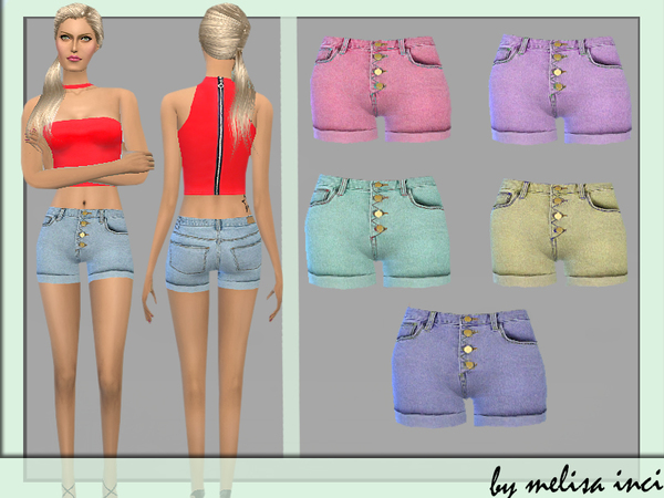 Sims 4 Button Front Denim Shorts by melisa inci at TSR
