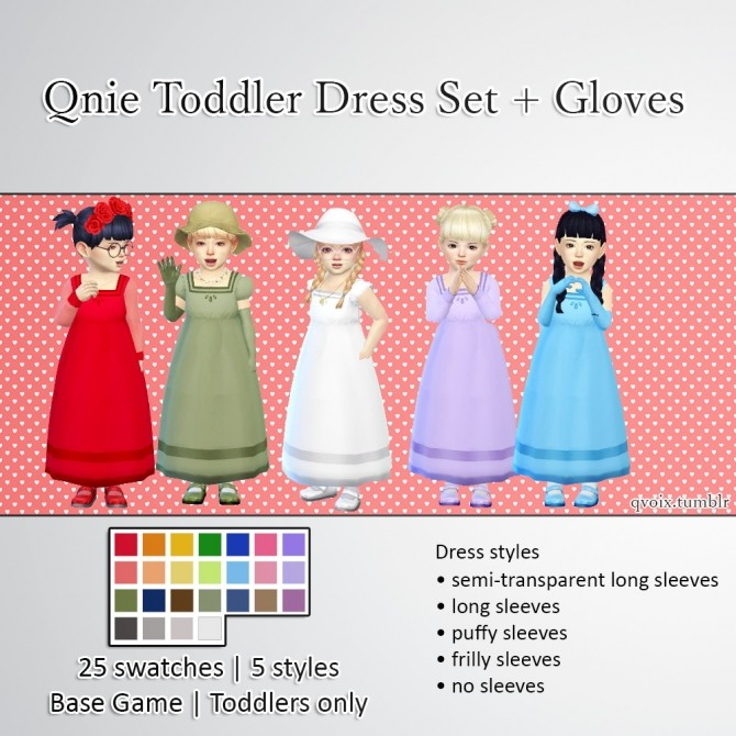 Sims 4 Qnie Toddler Dress Set & Gloves at qvoix – escaping reality
