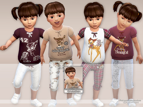 Sims 4 Bambi Pyjama Set for Toddlers by Pinkzombiecupcakes at TSR