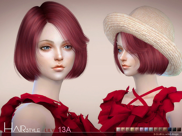 Lily Bob Haircut (style A 15 colors) n13A by S Club at TSR image 277 Sims 4 Updates