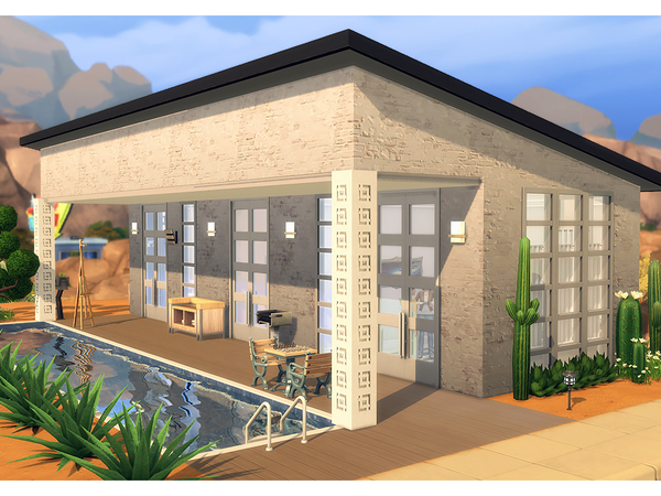 Sims 4 Pilars Pool House by Degera at TSR