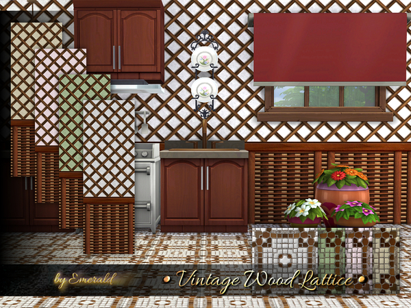 Vintage Wood Lattice by emerald at TSR image 2826 Sims 4 Updates