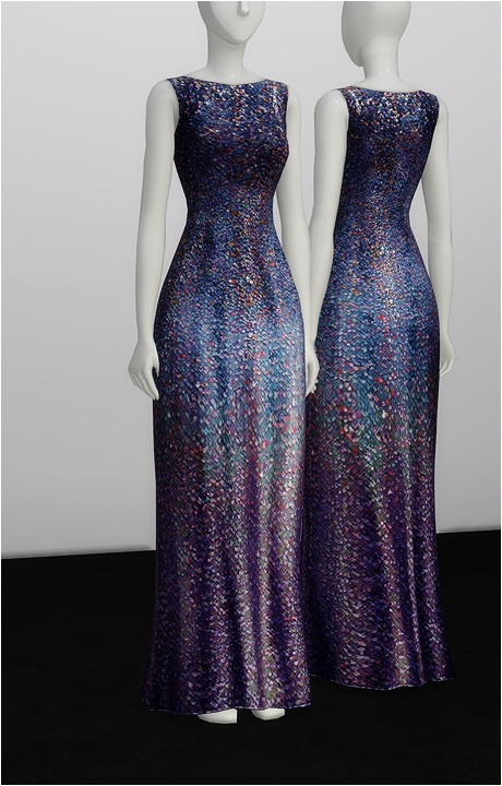 Sims 4 White Silver Sequined Gown at Rusty Nail