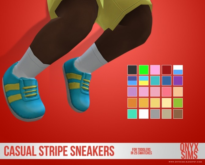 Sims 4 Casual Stripe Sneakers for Toddlers at Onyx Sims