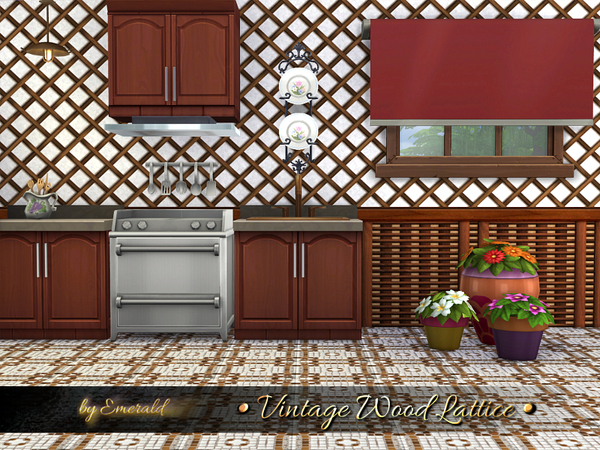 Vintage Wood Lattice by emerald at TSR image 2927 Sims 4 Updates