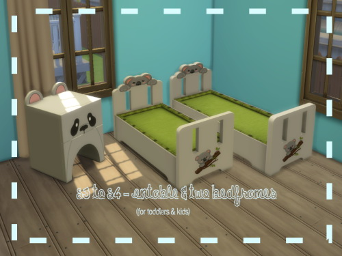 Sims 4 S3 to S4 Animal Endtable & two Bedframes at ChiLLis Sims