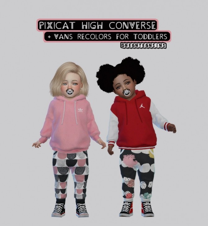 Sims 4 Pixicat High Converse + Vans Recolors for Toddlers at Dream Team Sims