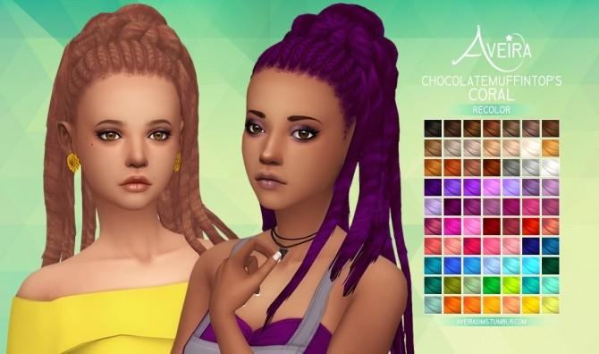 Sims 4 Chocolatemuffintop's Coral Hair Recolors at Aveira Sims 4