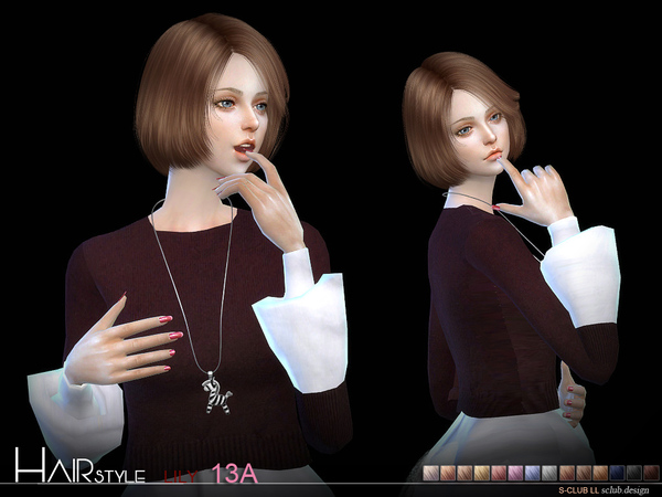 Lily Bob Haircut (style A 15 colors) n13A by S Club at TSR image 314 Sims 4 Updates