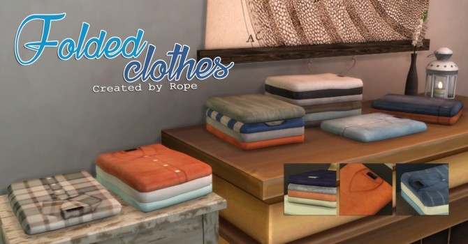 Sims 4 Folded Clothes by Rope at Simsontherope