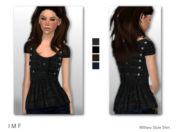 Sims 4 IMF Military Style Shirt by IzzieMcFire at TSR