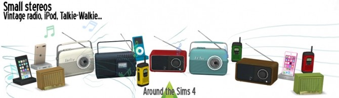 Small stereos: vintage radio, iPod, walkie talkie by Sandy at Around the Sims 4 image 433 670x195 Sims 4 Updates