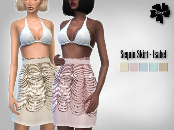 Sims 4 IMF Sequin Waist Skirt Isabel by IzzieMcFire at TSR