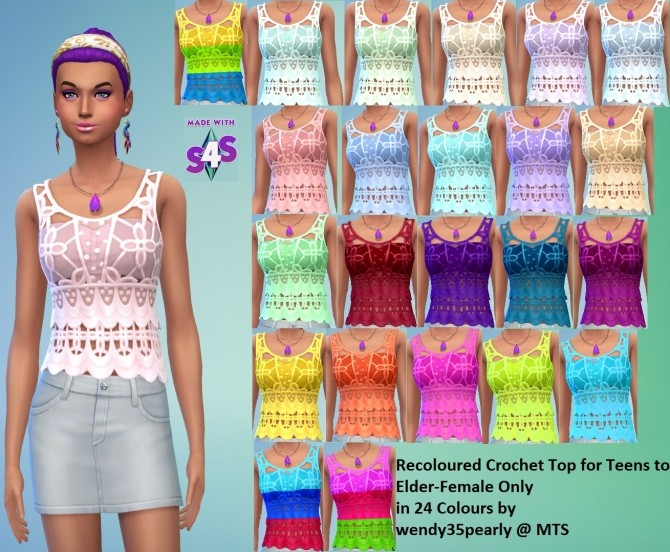 EP01 Recoloured Female Crochet Top 24 Colours by wendy35pearly at Mod The Sims image 476 670x552 Sims 4 Updates