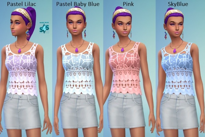 EP01 Recoloured Female Crochet Top 24 Colours by wendy35pearly at Mod The Sims image 496 670x448 Sims 4 Updates