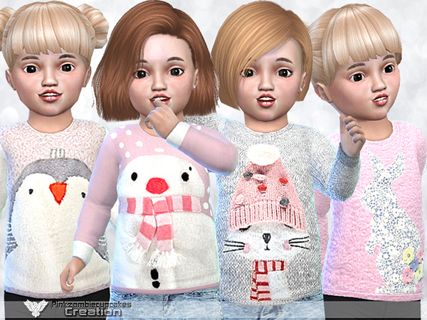 Sims 4 Cute Sweaters For Toddler by Pinkzombiecupcakes at TSR