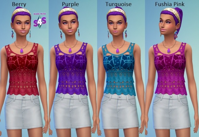 EP01 Recoloured Female Crochet Top 24 Colours by wendy35pearly at Mod The Sims image 506 670x463 Sims 4 Updates