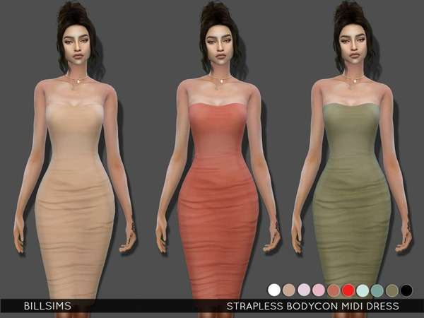 Sims 4 Strapless Bodycon Midi Dress by Bill Sims at TSR