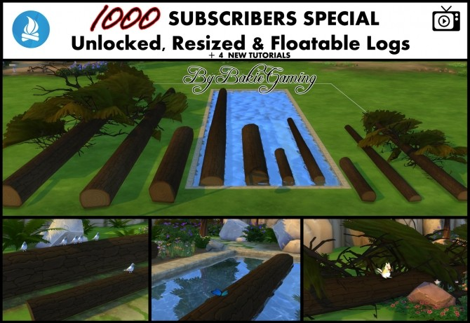 Sims 4 Unlocked Resized & Floatable Logs by Bakie at Mod The Sims