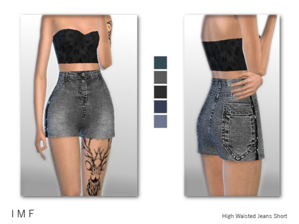 Sims 4 IMF High Waisted Jeans Short by IzzieMcFire at TSR