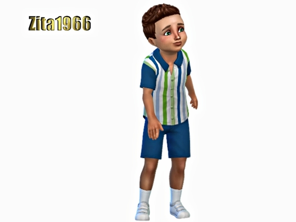 Sims 4 Toddler Boys Shirt and Shorts by ZitaRossouw at TSR