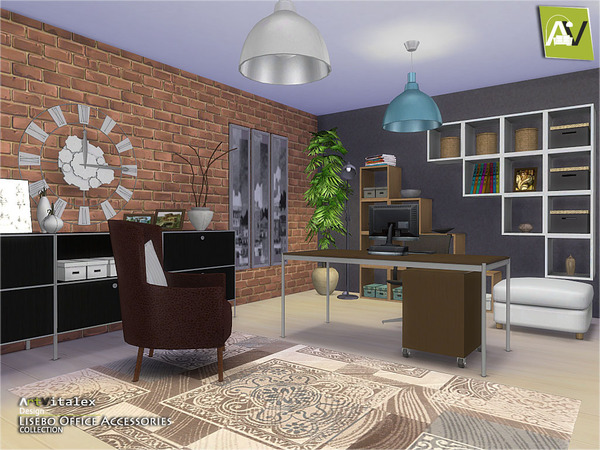 Sims 4 Lisebo Office Accessories by ArtVitalex at    select a Sites