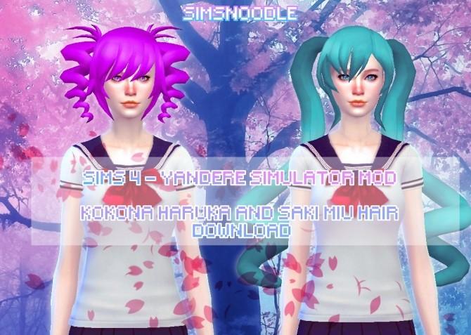 Sims 4 Kokona Haruka & Saki Miyu Hairs at SimsNoodles