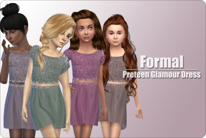 Sims 4 Preteen Glamour Dresses at xMisakix Sims