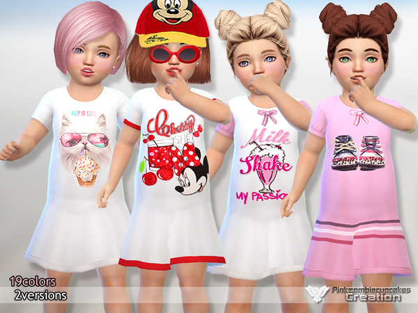 Sims 4 Toddler Nightgowns by Pinkzombiecupcakes at TSR