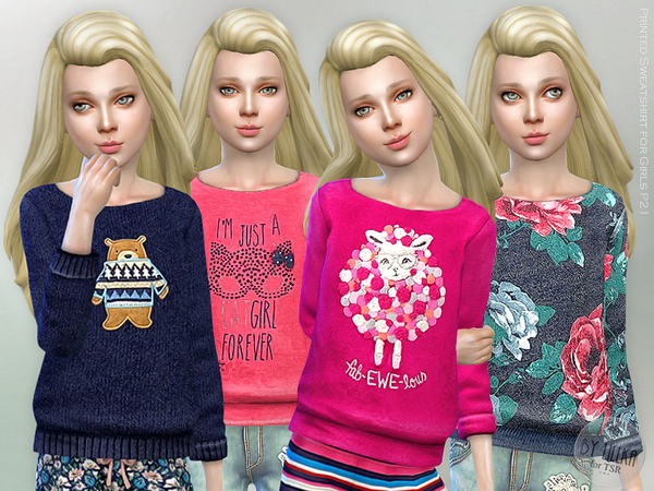 Printed Sweatshirt for Girls P21 by lillka at TSR image 613 Sims 4 Updates