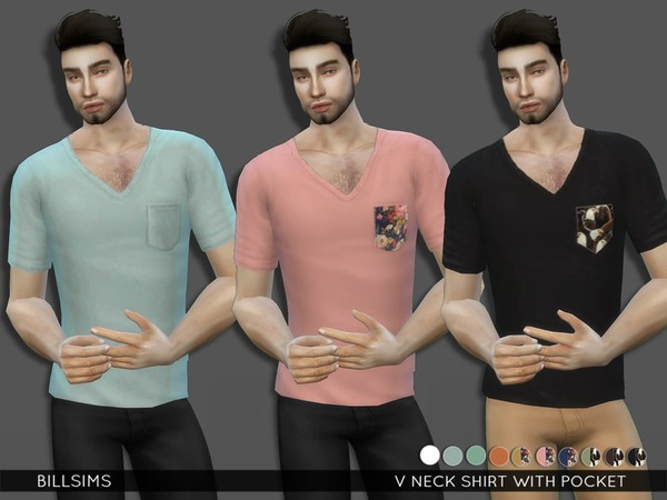 V Neck T Shirt with Pocket by Bill Sims at TSR image 620 Sims 4 Updates