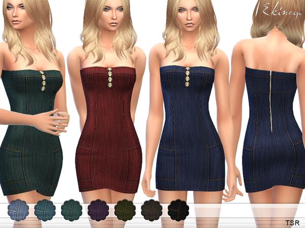 Sims 4 Strapless Denim Dress by ekinege at TSR