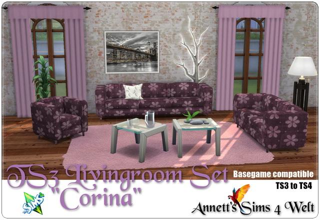 Sims 4 TS3 to TS4 Livingroom Set Corina at Annett's Sims 4 Welt