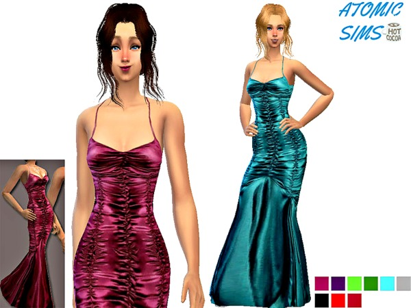 Sims 4 Wine red silk gown by Daweesims at TSR
