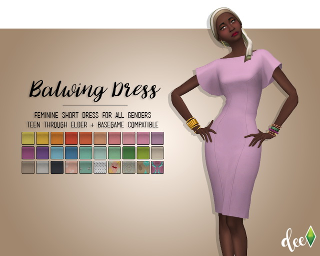 Sims 4 Batwing Dress at Deetron Sims