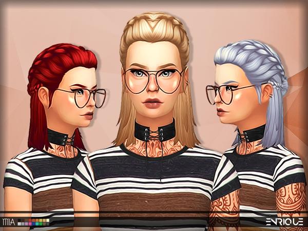Sims 4 Enriques4 Mia Hair by Jruvv at TSR