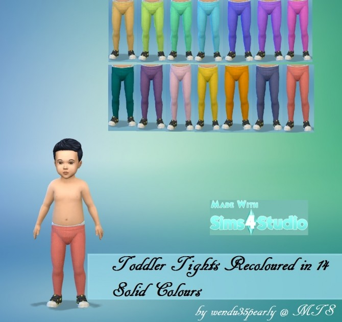 Sims 4 Toddler Tights in 14 Solid Colours by wendy35pearly at Mod The Sims