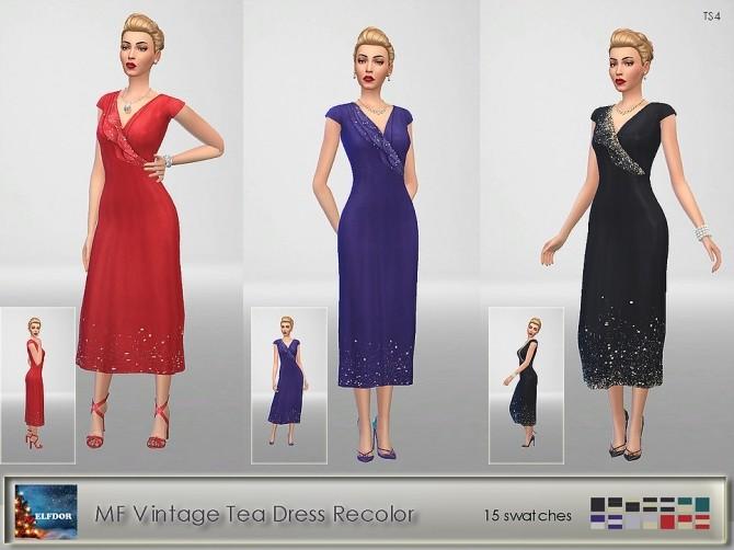 Sims 4 Vintage Tea Dress Recolor at Elfdor Sims