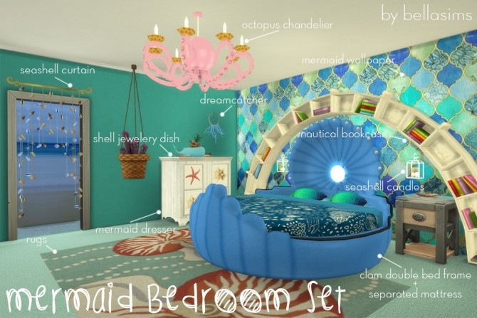 mermaid bedroom set at bellims sims 4 updates. Mermaid Bedroom Set   Bedroom Inspiration Database