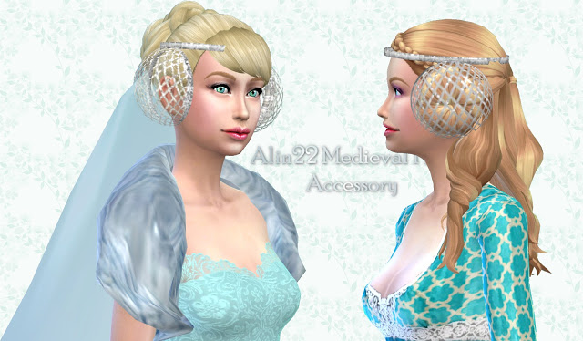 Medieval Long Hair With Buns Amp Metallic Hairnets Accessory